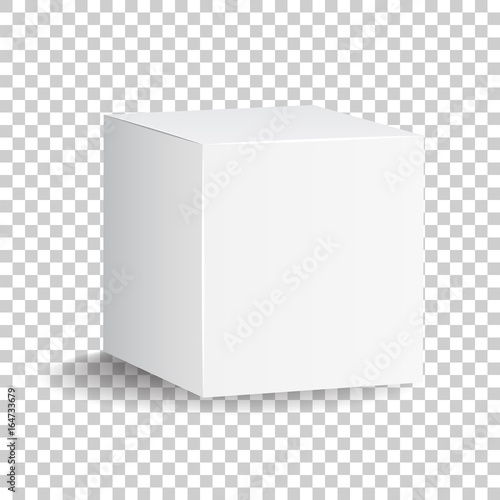 Obraz Blank white carton 3d box icon. Box package mockup vector illustration. - fototapety do salonu