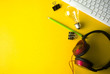 Leinwanddruck Bild - top view of creative work business on desk yellow background