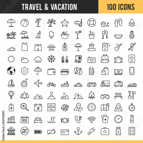 Travel and vacation icon set. Vector illustration. Fototapete