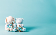 Child Celebration Theme With Present Boxes And Stuffed Animals