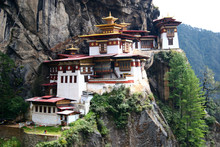Taktshang Monestary, Or The Tiger's Nest, Is Perched High On A Cliff Overlooking The Paro Valley, Bhutan.