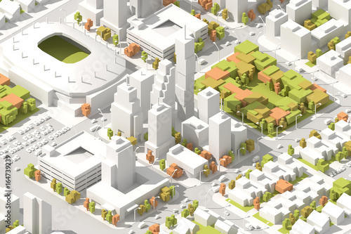 Architectural Isometric info graphic city streets with different