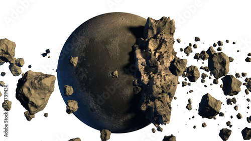 Photo  3D Rendering of asteroids next to a moon-like object with the clipping path included in the file
