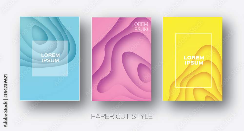 Fototapety, obrazy: Paper Cut Wave Shapes. Layered curve Origami design for business presentations, flyers, posters. Set of 3 vertical banners. 3D abstract map carving. Text. Frame. Yellow, Pink, Blue. Vector