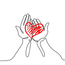 Hands Holding A Heart. Continuous Line Drawing. Vector Illustration