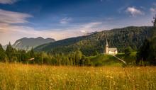 Church Of San Lorenzo In Sauris Di Sopra, Italy. Little Church In The Italian Mountains.