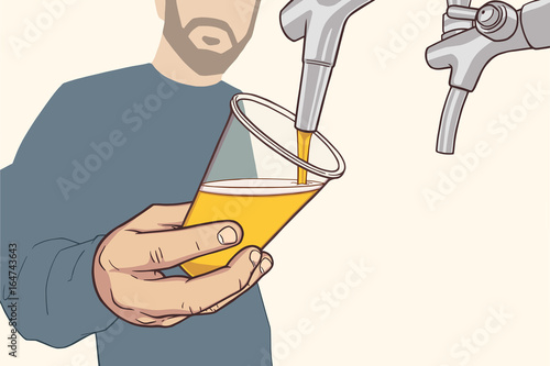 Fotografía  Illustration of man with beard pouring draft beer in vintage colors