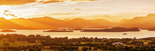 Panoramic View Of Loch Lomond (the Largest Inland Stretch Of Water In Great Britain) At Sunset. Loch Lomond And The Trossachs National Park, Scotland, UK