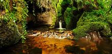 A Beautiful Gorge With Waterfall And Lush Vegetation. Dollar Glen, Clackmannanshire, Scotland, UK