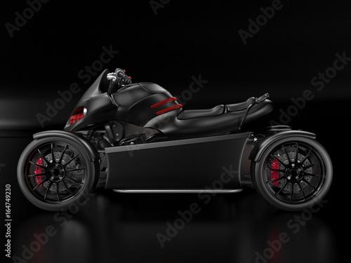 3d rendering black red ATV at a black background.