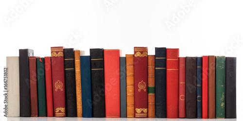 Vintage books on white background