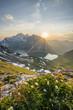 canvas print picture - Sonnenuntergang im Hochgebirge im Sommer