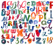 Large Raster Letters Collection, Hand Drawn With Watercolor And Brush. Font Written With Different Shapes And Color, Capital And Lowercase Letters Isolated On White. Large And Grainy Sequence A To Z
