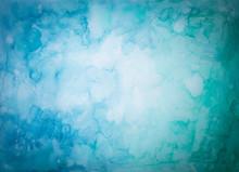 Blauer Und Grüner Hintergrund Aus Aquarellfarben  Mit Abstraktem Fleckigen Muster Und Heller Mitte