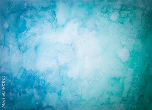 Türaufkleber Darknightsky Blauer und Grüner Hintergrund aus Aquarellfarben mit abstraktem fleckigen Muster und heller Mitte