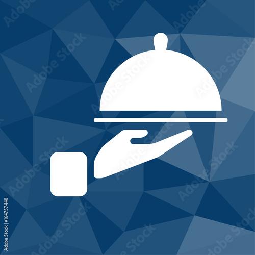 Fotografie, Obraz  Essen servieren - Icon mit geometrischem Hintergrund blau