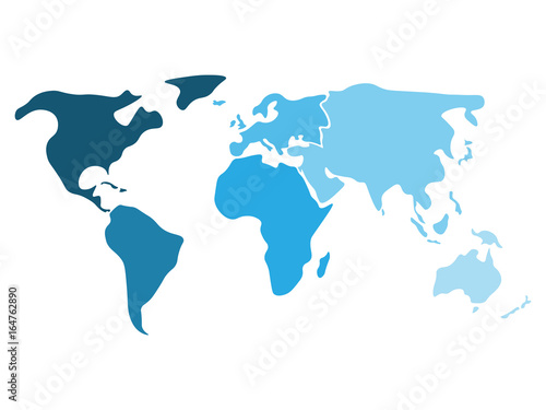 multicolored world map divided to six continents in different shaders of blue north america