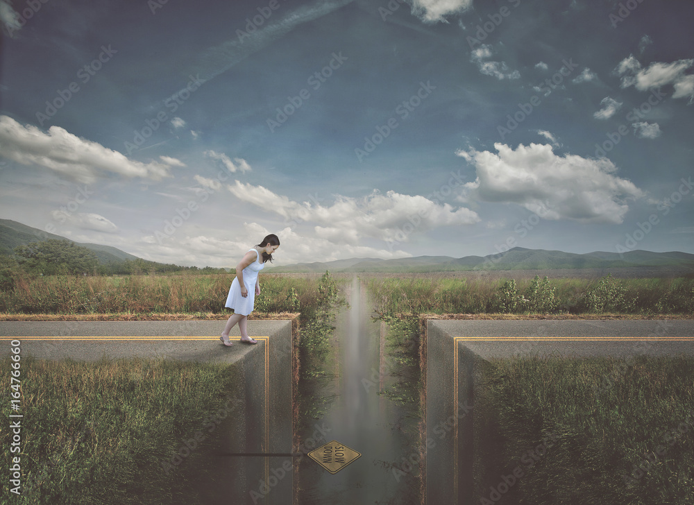 Fototapety, obrazy: Woman approaching broken road