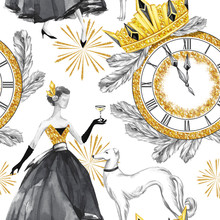 Watercolor Seamless Pattern In Retro Gold Style. Beautiful Woman With Champagne, Greyhound Dogs, Jewellery Clock, Diadem, Fir Branches. Vintage New Year Illustration. For Holidays Design.