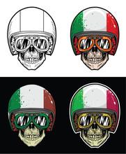Biker Skull Wearing Goggles And Grunge Italy Flag Helmet, Hand Drawing Skull