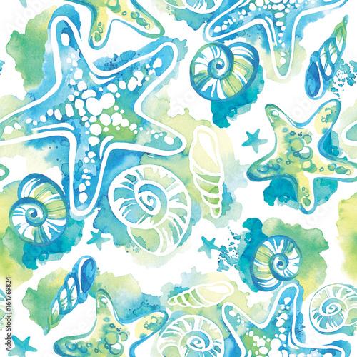 akwarele-tla-z-muszelek-abstrakcjonistyczny-bezszwowy-deseniowy-morski-projekt