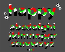 Vector Of Stylized Lowercase Multi-colored Font And Alphabet, Abstract Rainbow Design