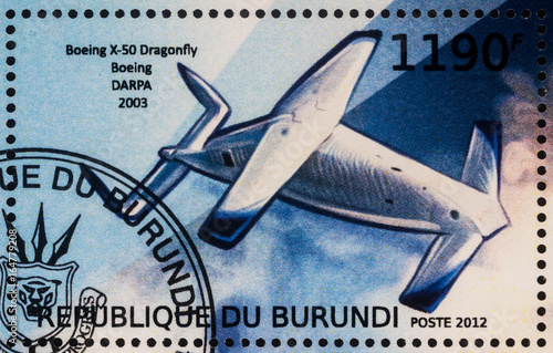 Experimental unmanned aerial vehicle Boeing X-50 Dragonfly (2003) on postage stamp