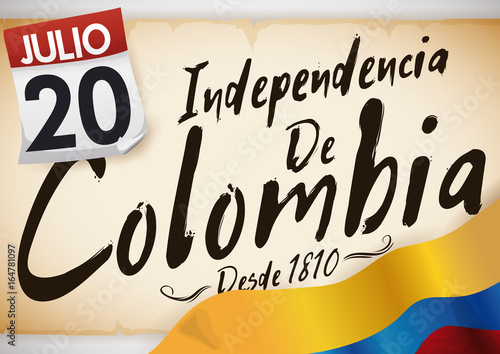 Poster  Old Scroll, Flag and Loose-leaf Calendar for Colombia Independence Day, Vector I