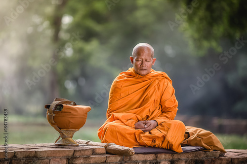 Asian monk meditating under a tree Canvas