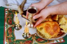 Sabbath Image. Challah Bread, Sabbath Wine And Candelas On Wooden Table
