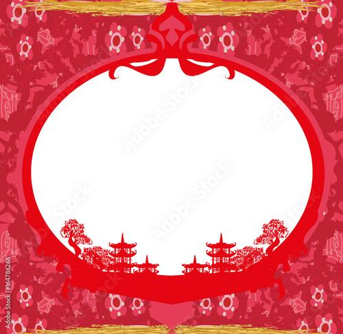 Keuken foto achterwand Rood traf. Asian Landscape card