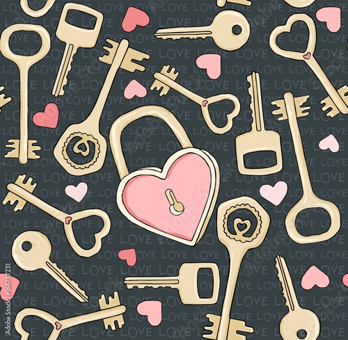 Photo sur Aluminium Art abstrait Vector seamless pattern with keys. Symbols of love. Doodle drawing, hand drawn illustration.