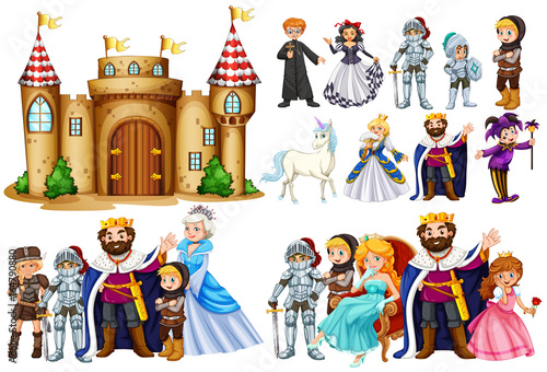 Photo  Fairytale characters and castle building
