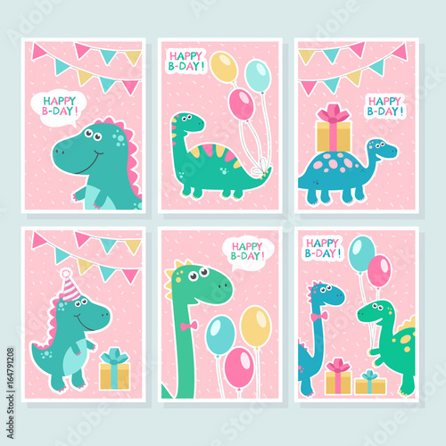 cute vector cards set with dinosaurs balloons funny smiling dinos
