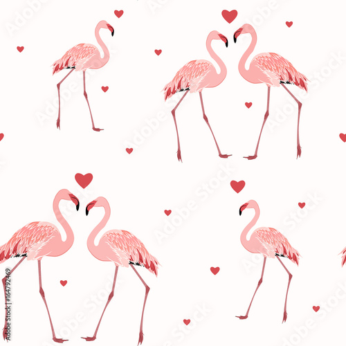 Fotobehang Flamingo vogel Pink flamingos and red hearts seamless pattern texture on white background. Love passion affection valentine day theme. Vector design illustration.