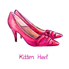 Red Leather Kitten Heel Shoes, Isolated With Inscription, Hand Painted Watercolor Illustration