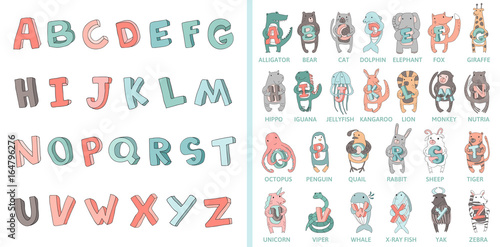 fototapeta na ścianę Hand-drawn alphabet, font, letters. Doodle ABC for kids with cute animal characters. Vector illustration, isolated on white background.