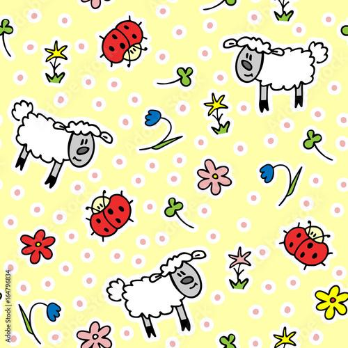 Dzieci ładny wzór z jagniąt, kwiatów i biedronki. Do dekoracji papieru i tkanin. Ilustracji wektorowych.