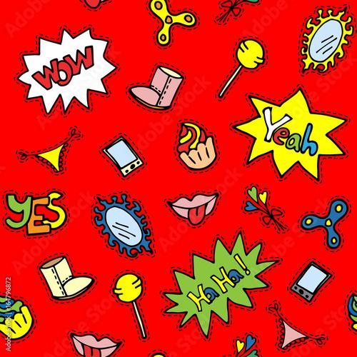 zabawny-wzor-z-warg-ciastka-elementy-roznych-odznaki-komiks-dymki-jasny-czerwony