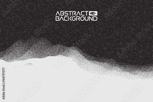 Stipple gradient texture ,half tone, dot vector art. 3D landscape Abstract Background. Gradient Vector Illustration. Computer Art Design Template. Landscape with Mountain Peaks
