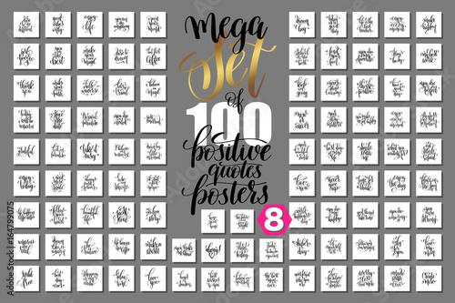 Fotomural  mega set of 100 positive quotes posters, motivational and inspir