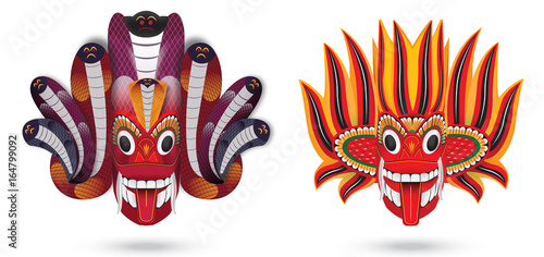 Photo  Sri Lanka Traditional dancing mask in vector format