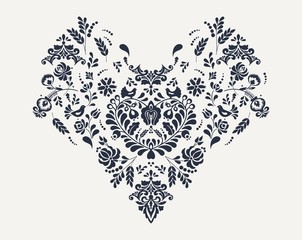 Slavic floral heart embroidery vector