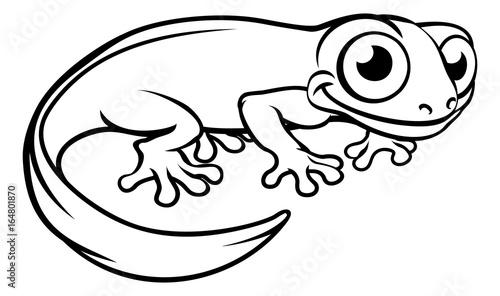 Stampa su Tela Newt or Salamander Cartoon Character