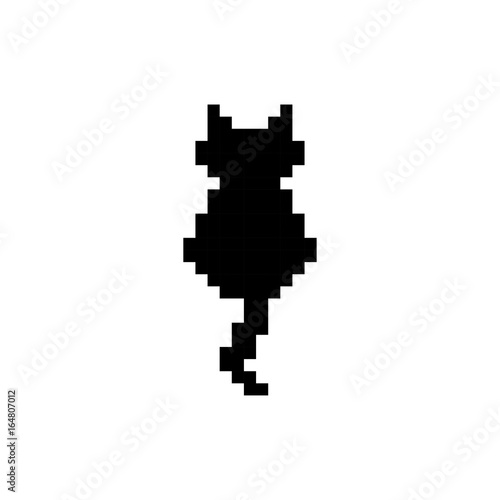 Cute Kitten Domestic Pet Silhouette Pixel Art Isolated