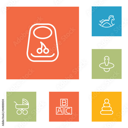 Set Of 6 Baby Outline Icons Set Poster