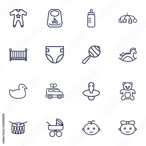 Set Of 16 Child Outline Icons Set Collection Of Baby Crib Carriage