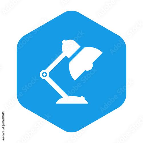 Poster  Icono plano lampara tipo flexo en hexagono azul
