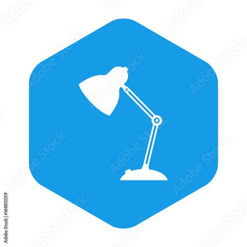 Canvastavla  Icono plano lampara tipo flexo en hexagono azul