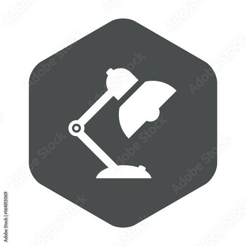 Poster  Icono plano lampara tipo flexo en hexagono gris